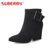 SUBERRY Spike Heels Pointed Toe Women Boots Real Sheepskin Buckles Decorated Side Zipper Ankle Boots Thick High Heel Black Shoes