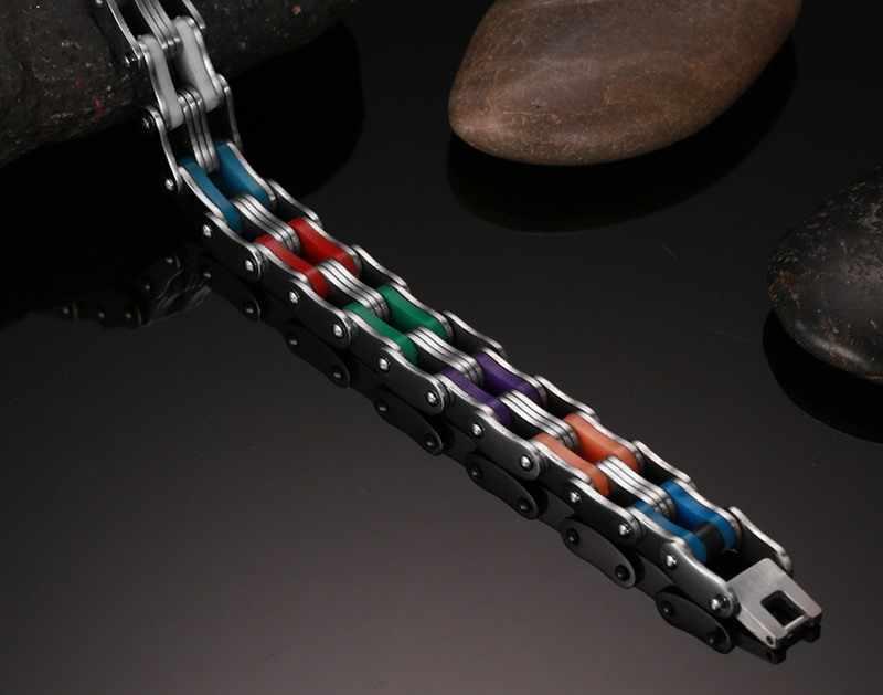 Mprainbow Uomini Bike Braccialetti di Collegamento con il 316L Arcobaleno In Acciaio Inox Braccialetto di Gomma per Gli Uomini Dei Monili con 8.5 pollici
