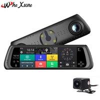 WHEXUNE 4G 10 дюймов Android5.1 сенсорный ips Специальный Автомобильный видеорегистратор камера зеркало Bluetooth wifi ADAS автомобильный ассистирующий двойн