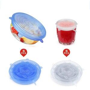 Image 2 - 6 Pcs סיליקון למתוח מכסים לשימוש חוזר אטום מזון לעטוף מכסה שמירה טרי חותם קערת נמתח גלישת כיסוי מטבח כלי בישול