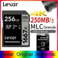 Original Lexar 1667X SD card 256 gb Flash Memory Card sd card 128gb 64gb 250MB/s UHS-II U3 micro sd card for 3D 4K Full HD video