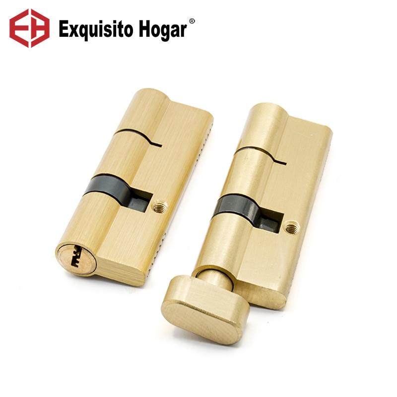 Herraje de cilindro abierto doble o simple dorado para interior 80/85/90/95/100/105/110mm cerradura cilindro de puerta latón cerradura extendida 3 uds llave