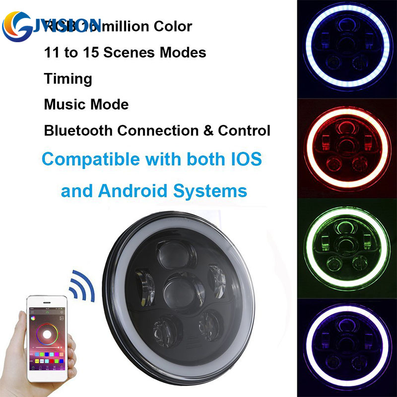 7 LED Headlight RGB Halo Ring Angel Eyes 7 Round Multicolor DRL Bluetooth Remote Control for Jeep Wrangler JK LJ CJ TJ 4 90mm rgb led lights wholesale price led halo rings 12v 10000k angel eyes rgb led angel eyes for byd for chery for golf4