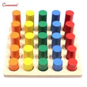 Image 4 - Montessori Sensoiral Đồ Chơi Hình Học Bước Xi Lanh Toán Bé Kingarten Màu Đào Tạo Giáo Dục Đồ Chơi Cho Trẻ Em