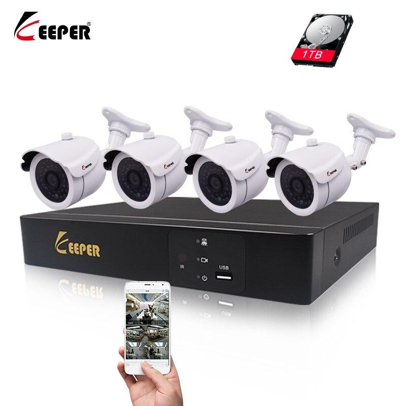 Keeper 4CH 1080P NVR 4PCS 2.0MP POE IP камера P2P HDMI 1080P CCTV система видеонаблюдение IR Ночное видение наружная камера Комплект