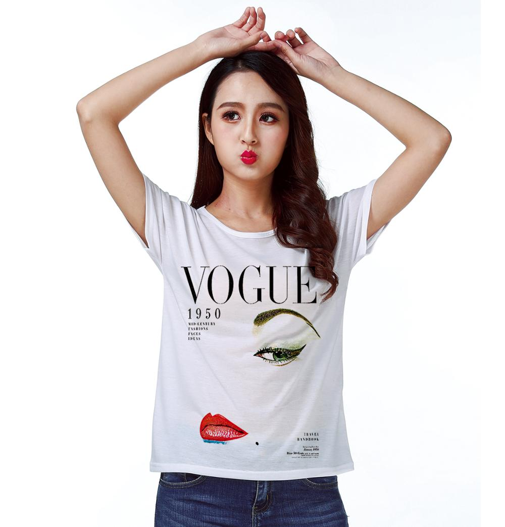 T Shirt Top Tee 1950 Lady Beauty Fashion With Pale Face