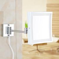 Quadrado de 8.5 Polegadas LEVOU Luz de Parede-montado espelho de maquilhagem dobrável 3X Ampliação Espelho de Maquiagem LEVOU espelho do banheiro