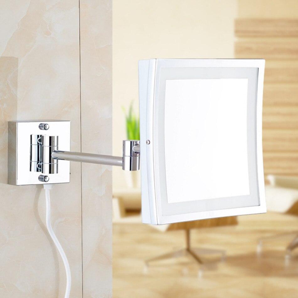 Quadrato Da 8.5 Pollici HA CONDOTTO LA Luce a Parete pieghevole specchio cosmetico 3X Ingrandimento LED Specchio Per Il Trucco specchio del bagno