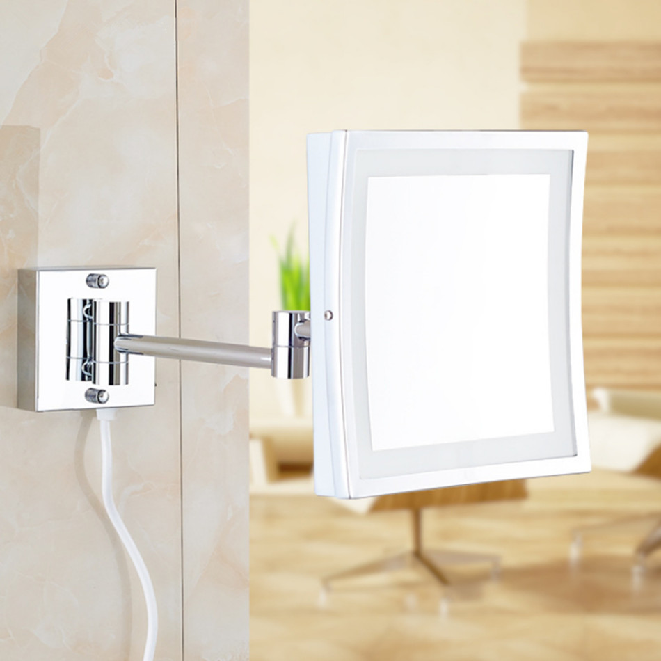 Square 8 5inch led light wall mounted folding cosmetic for Wall mounted mirror