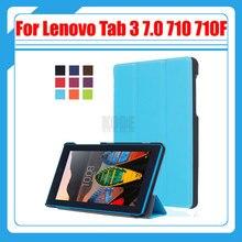 3 en 1, Magnética delgada de LA PU Cubierta de Cuero Del Caso Del Soporte para Lenovo Tab 3 7.0 Esencial 710 710F Tablet TB3-710F + Película de Pantalla + Stylus