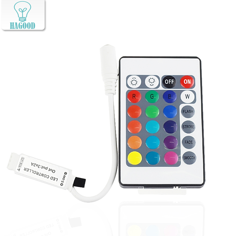 24keys Receptor RGB Remote Controller With Mini Receiver LED Driver Dimmer Fit LED Controller IR Receiver For Led Strip