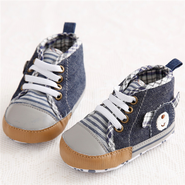 4fb3ec65792d Handsome Cowboy Blue Jeans Baby Sneakers Soft Bottom Lace Up Firstwalker  Sports Shoes Infant Newborn First Walker Shoes for Bebe