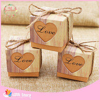 Big Heard Love 50pcs Romantic Heart Candy Box For Wedding Decoration Vintage Kraft Wedding Favor And