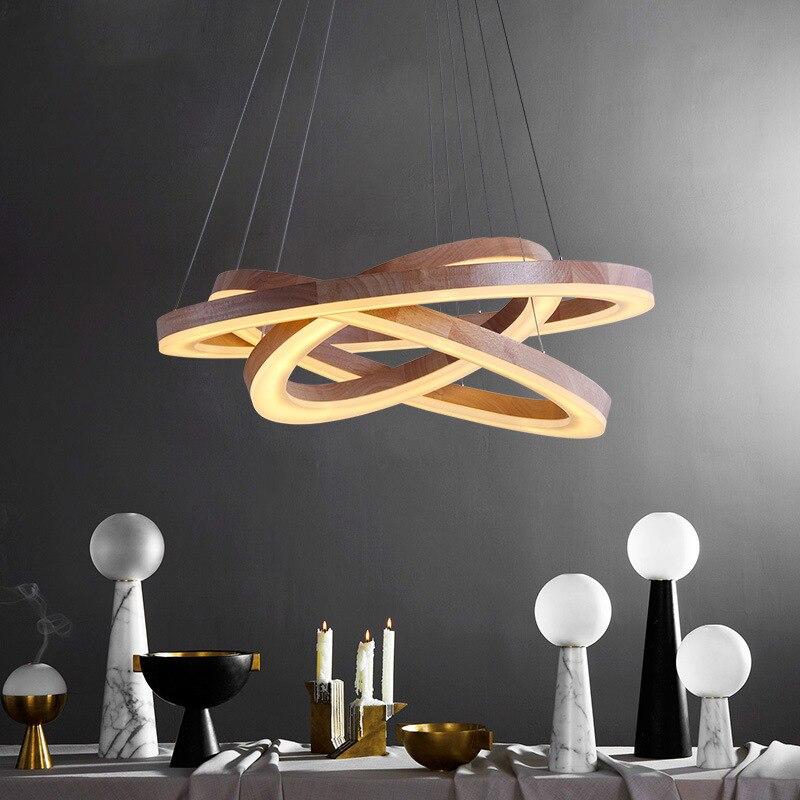 Moderne Holz Licht LED Wohnzimmer Esszimmer Pendelleuchten Suspension Leuchte Led Ring Beleuchtung Runde Lampe