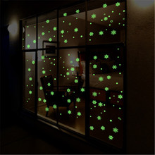 New Year Merry Christmas Decorations for Home Luminous Snowflake Background Decorative Sticker Removable Navidad Natal