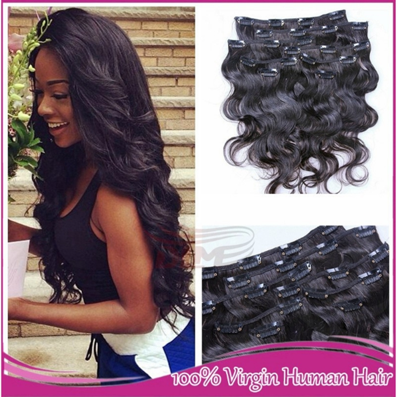 Malaysian clip in hair extensions virgin malaysian body wave hair malaysian clip in hair extensions virgin malaysian body wave hair clip in hair extensions natural black 8pcs 120g clips ins on aliexpress alibaba pmusecretfo Gallery