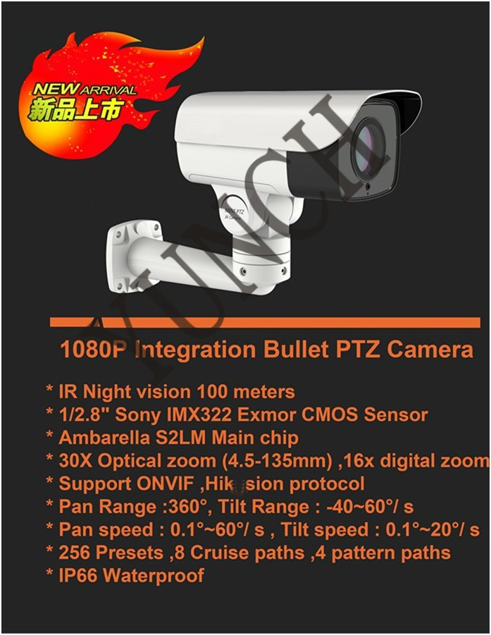 Hot Selling 1080P 30X Mini PTZ CCTV Camera Outdoor Rotary Bullet IP camera waterproof With audio