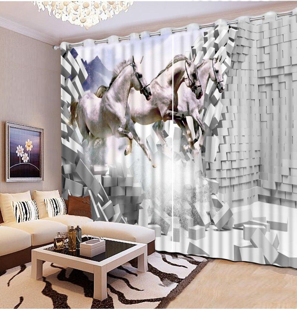 Luxe européen moderne brique cheval rideaux pour salon 3d rideaux décoration de la maison