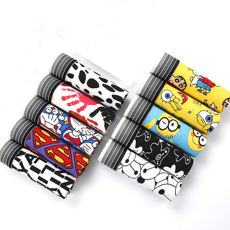 10pcs/set Underpants Man Boxer Silk Panties Men Lovely Cartoon Mens Underwear Boxers Breathable Summer Calvin Underwear Male Lot