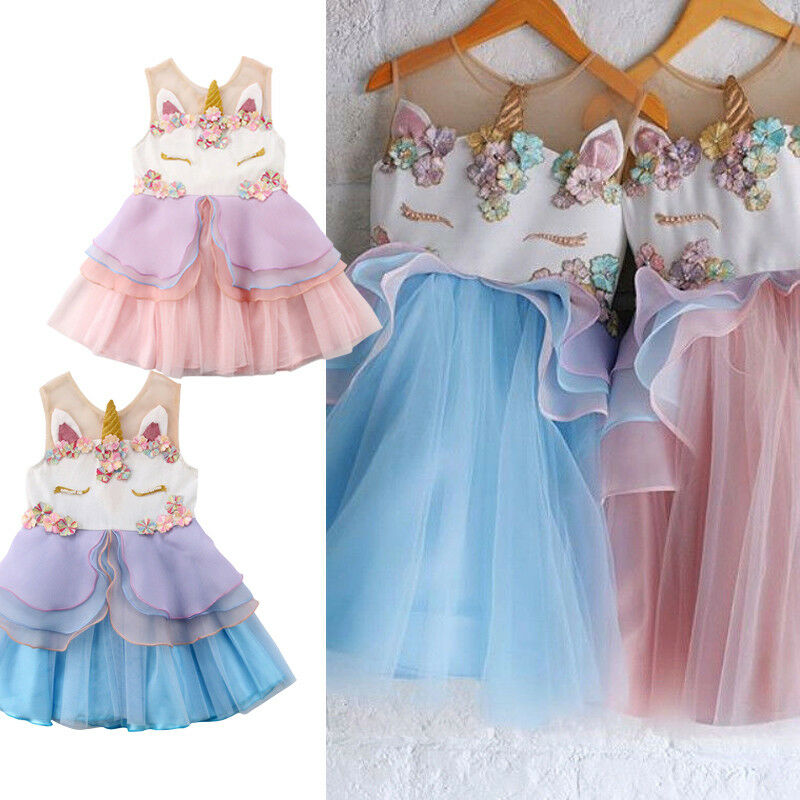 Princess Newborn Kids Baby Girls Sleeveless Chiffon Unicorn Embroidery Party Pageant Dress 3D Sundress Ruffle Summer ClothesPrincess Newborn Kids Baby Girls Sleeveless Chiffon Unicorn Embroidery Party Pageant Dress 3D Sundress Ruffle Summer Clothes