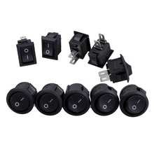 5 Pcs Spst Black Button On/Off Round Rocker Switch Ac 6A/125V 3A/250V with x 250V 3A 2 Pin I/O Snap In Mini B