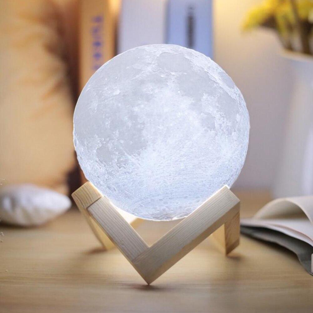 Usb Lampe 3d Impression Lune Lampe Luminaria USB de Charge Veilleuse Led Touch Control Luminosité Deux Couleur Changement De Chevet Lampes