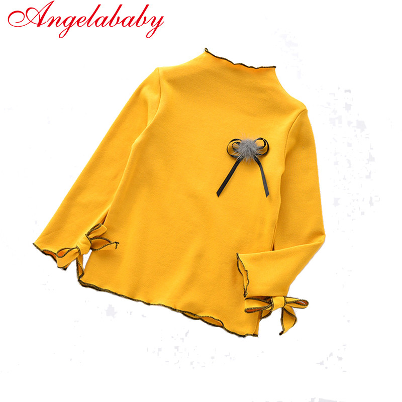 2017 new autumn girls casual solid Shirt children's cotton Corsage turleneck long sleeve tops kids Cuffs with butterflies tees