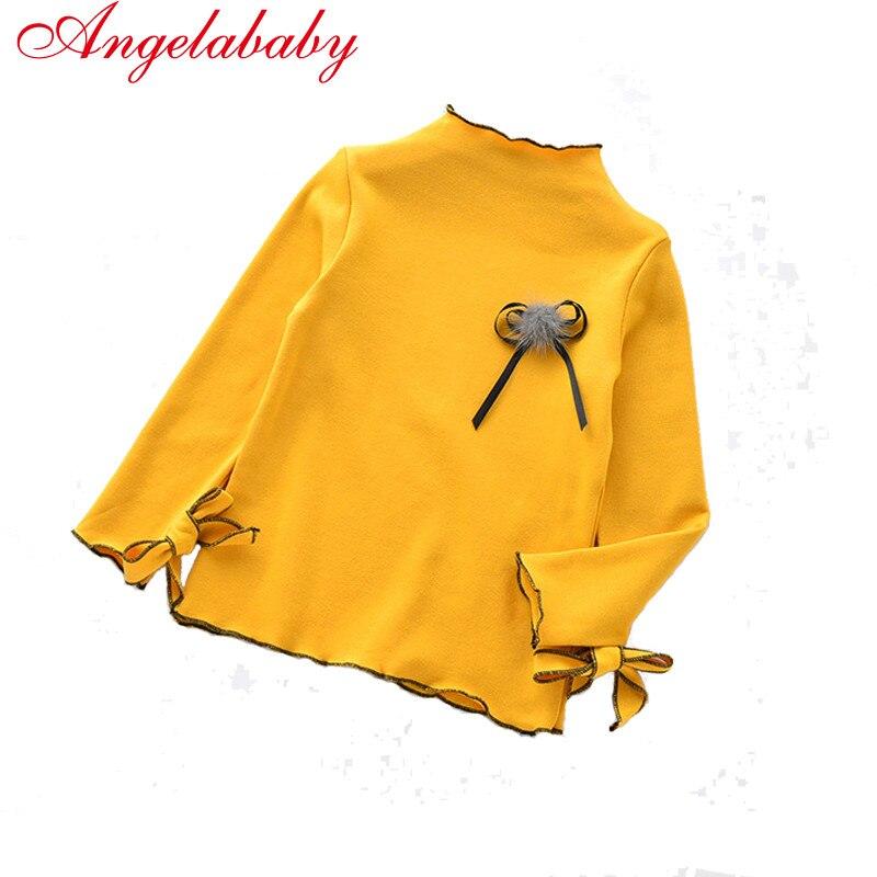 2019 جديد الخريف الفتيات عارضة الصلبة قميص الأطفال القطن الصدار turleneck طويلة الأكمام قمم الاطفال الأصفاد مع الفراشات تيز