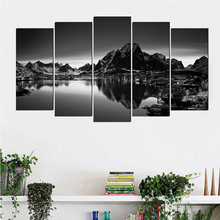 Black white landscape art deco canvas painting Europe prints 5 psc modern wall picture for living room cafe shop lobby home