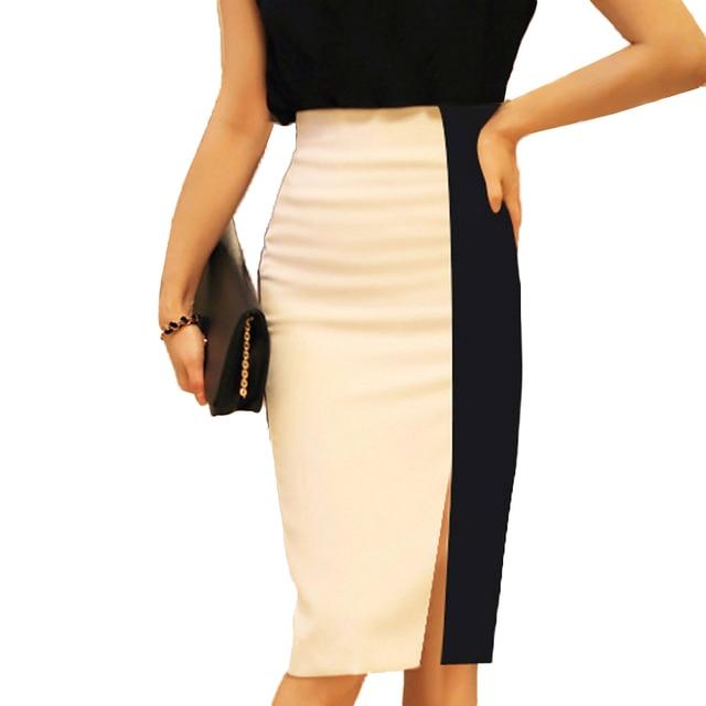 4478f0c8e4 High Waist Black White Patchwork Women Pencil Skirts Office Ladies Wear To  Work Fashion Elegant Bodycon