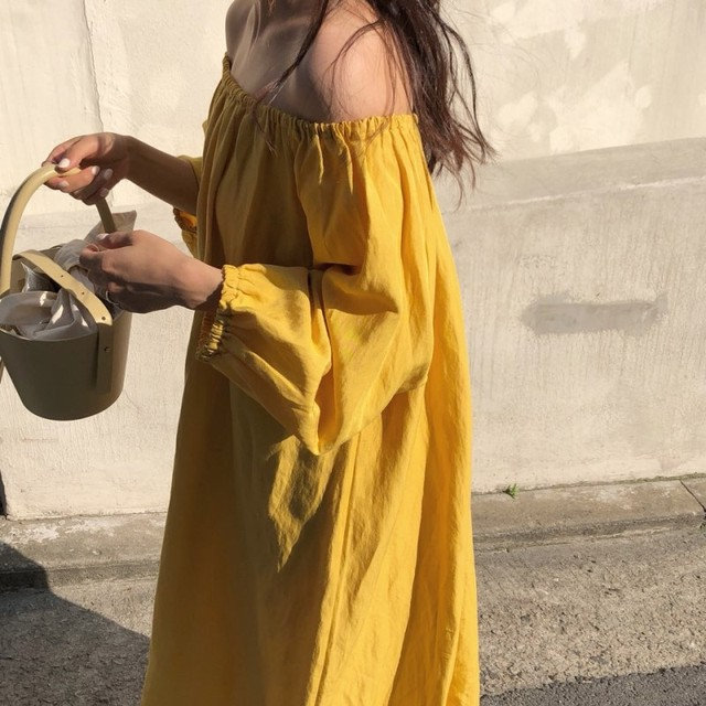 Sexy Slash Neck Off Shoulder Women White yellow Beach Dresses  Sexy Sundress Bohemian Dress