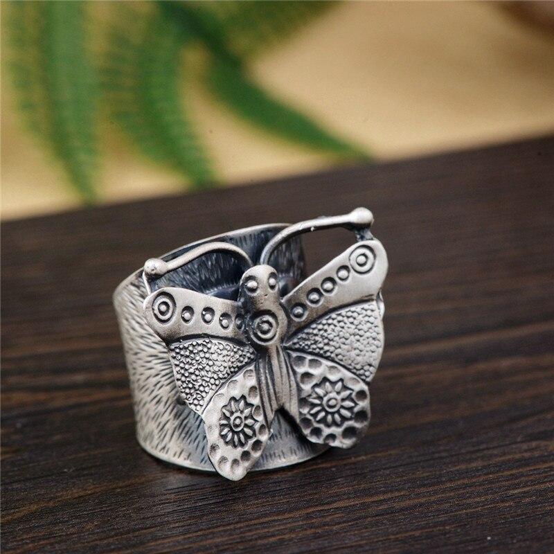 BESTLYBUY 100% réel 990 Bijoux en argent Sterling papillon rétro anneaux pour les femmes cadeau de fête Bijoux bague en argent thaï
