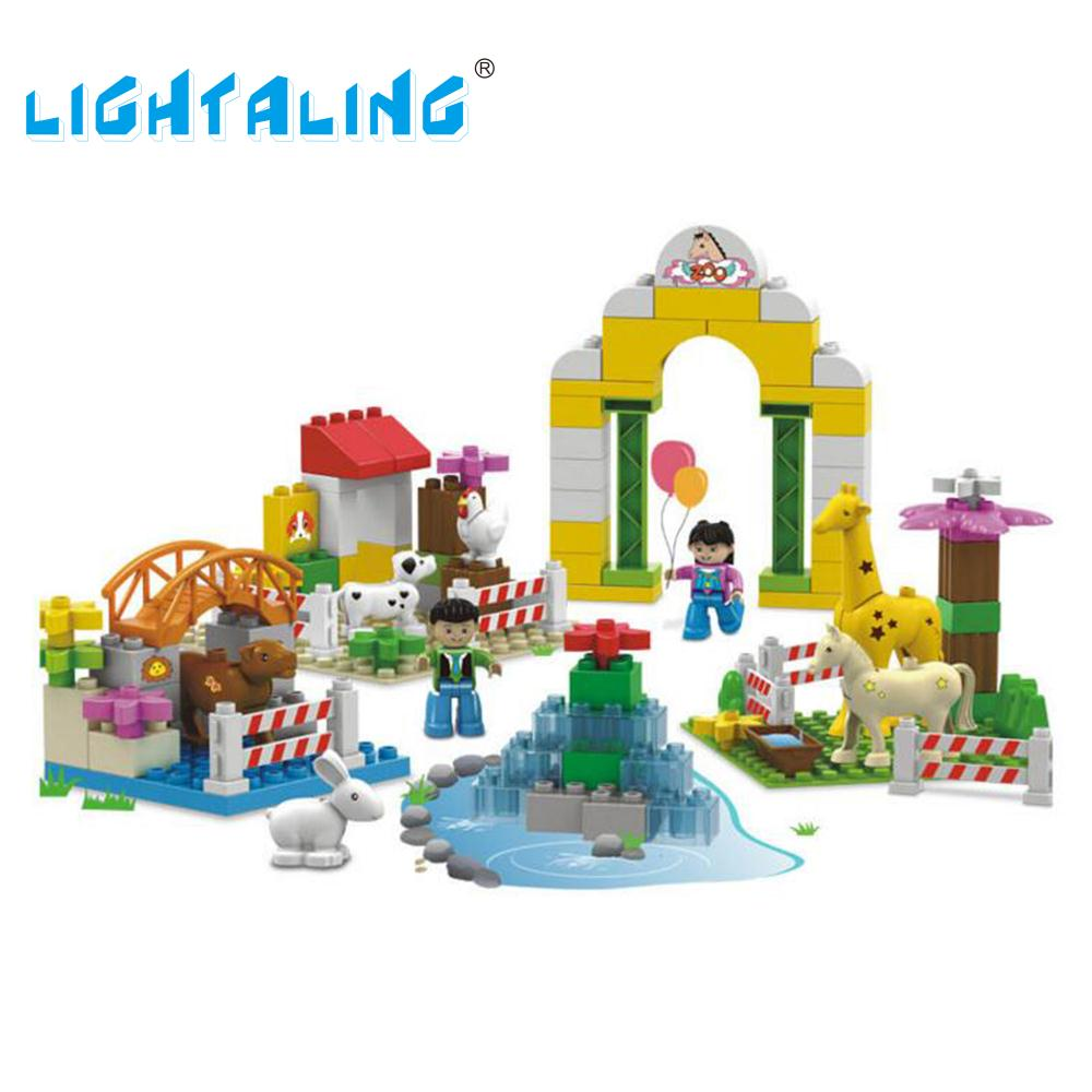 Lightaling Gift Toy Happy Farm Zoo Big Size Building Blocks Bricks Children's Enlighten Educational Toys d418 thomas train track toy electric toy happy farm gift set eyes will move