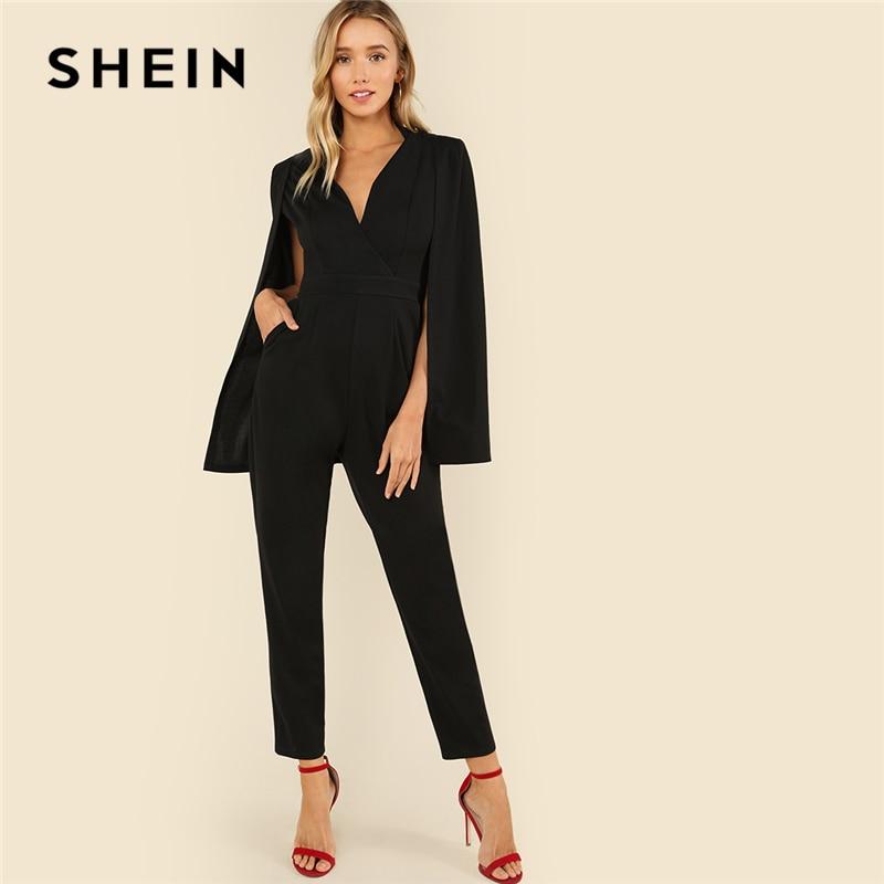 SHEIN de fiesta negro elegante de hundiendo V cuello capa manga larga sólido de cintura alta Maxi mono otoño mujer Casual mono