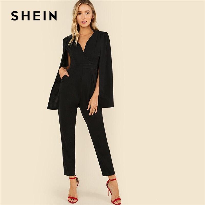 SHEIN noir fête élégant Wrap plongeant col en V cape manches longues solide taille haute Maxi combinaison automne femmes décontracté combinaison