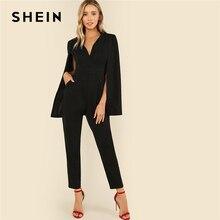 Shein preto festa elegante envoltório mergulhando v pescoço manto manga longa sólida cintura alta maxi macacão outono feminino casual macacão