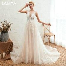 LAMYA Elegant A Line Wedding Dress Off The Shoulder Vestidos de novia Vintage Lace V Neck Bridal Gown Backless Dresses