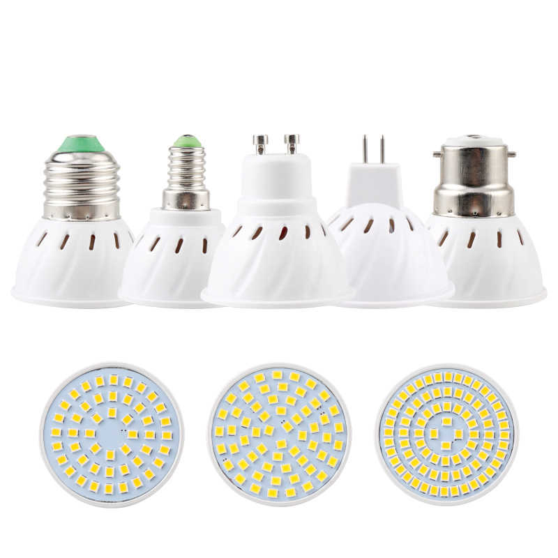LED Spotlight GU10 E27 MR16 Led Lamp Bulb AC 110V 220V 2835SMD 48Leds 60Leds 80Leds E14 B22 GU5.3 White/Warm White LED Lighting