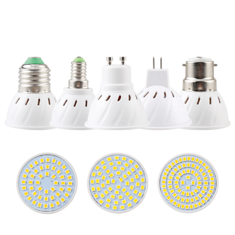 LED Spotlight GU10 E27 MR16 Led Lamp Bulb AC 220V 2835SMD 48Leds 60Leds 80Leds E14 B22 GU5.3 White/Warm White LED Lighting