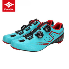 Santic Road Cycling Shoes Pro Ultralight Carbon Fiber Sole Road Bike Shoes Self-lock Athletics Bicycle Shoes Zapatillas Ciclismo