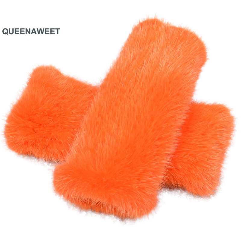 002 réel Tricoté Vison gants fourrés D'hiver mitaines Mitaines manchon de bras 100% Naturel Vison Peau Gants et Mitaines