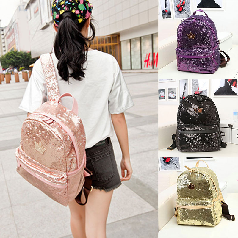 New Fashion Women Backpack Crown Sequins Bags Travel Backpacks school bags for teenagers Girls portfolio High