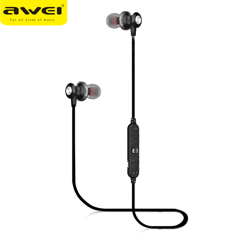 Original AWEI A980BL Bluetooth Earphone Wireless Headset With Microphone Magnetic Earphones Sports Noise Isolation In-ear Earbud