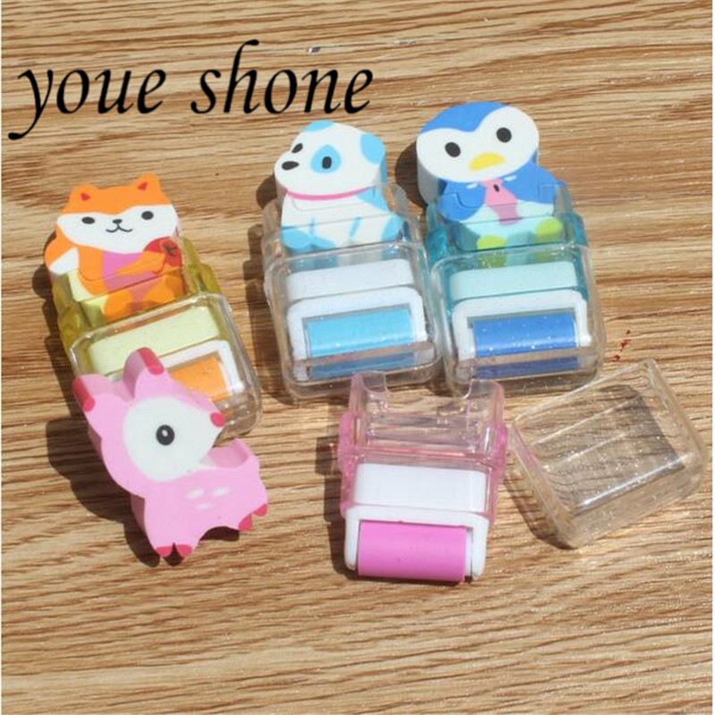 1PCS Cartoon Eraser Cute Student Stationery Prizes Rubber Animal Wheel Erasers For Pencil Genuine