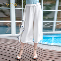 VOA тяжелый шелк Белый Широкие штаны с оборками Для женщин Повседневное плюс Размеры 5XL свободные краткие простые укороченные штаны летние