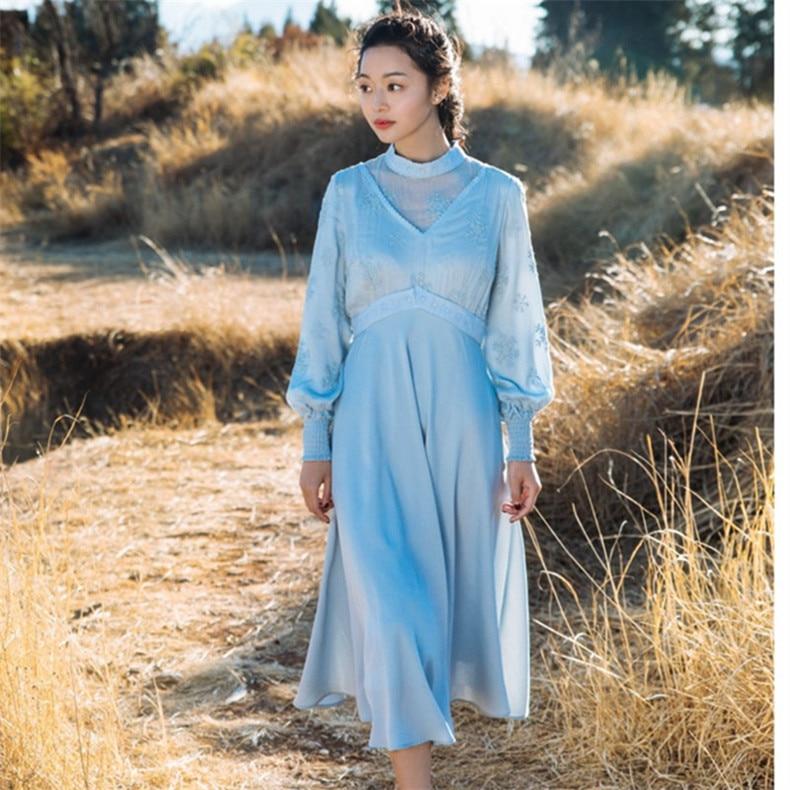 Neue Hohe Qualität Explosionen Freizeit Vintage Elegante Kleider Frauen Stickerei gnade fullSleeve Frühling sommer Casual Kleid-in Kleider aus Damenbekleidung bei  Gruppe 3
