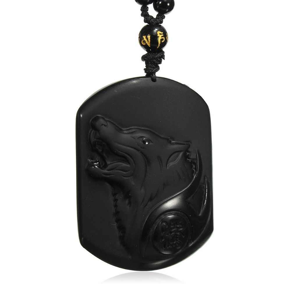 Fostfo naturalny czarny obsydian rzeźba wilk głowy Amulet wisiorek bezpłatny naszyjnik obsydian błogosławieństwo szczęście wisiorki biżuteria