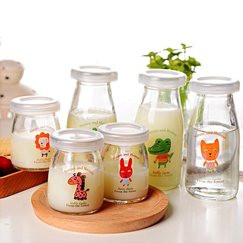 Frascos De Vidrio y tapas De 6 uds para Yogurt Cartoon DIY botella De leche De cocina frasco De postre De alta temperatura Frascos De Vidrio Con Tapa