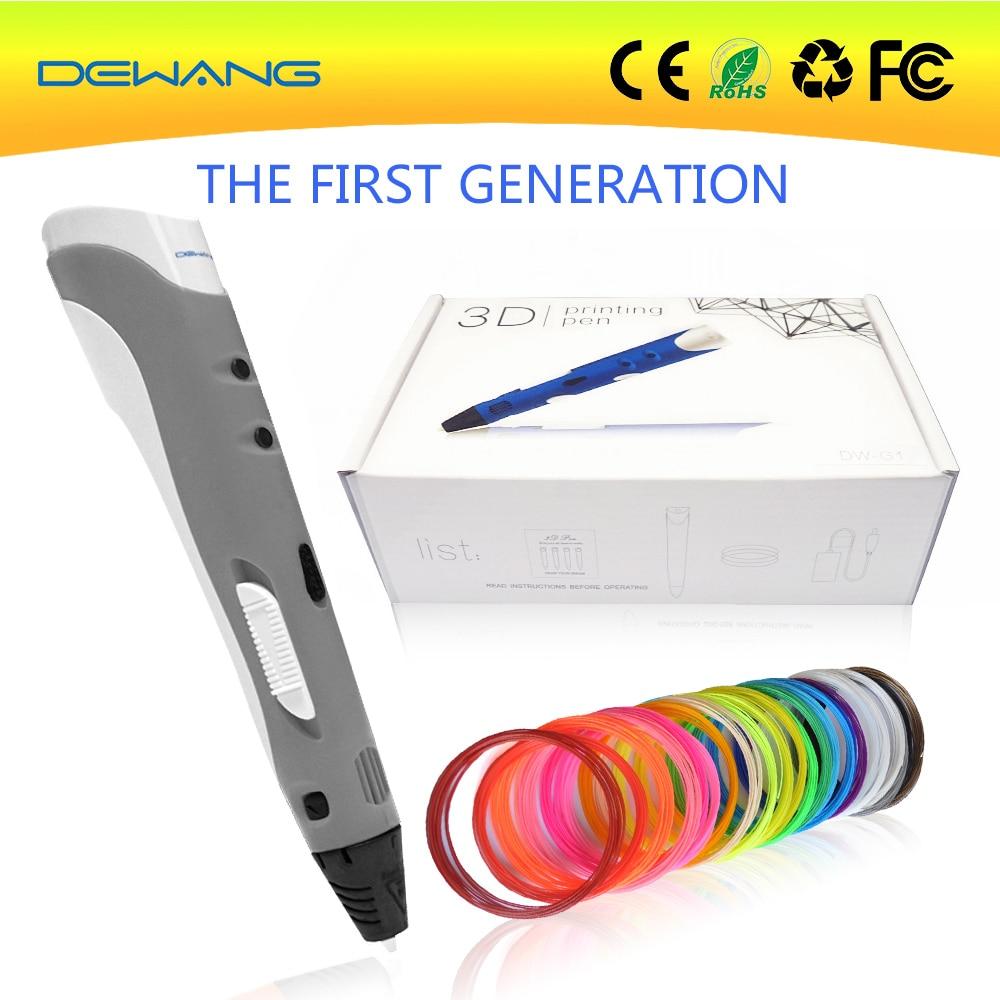 Prix pour Dewang 3d stylos promotion + 100 m 20 couleurs abs filament avec l'ue/ua/us/uk plug haute qualité 3d imprimante stylo