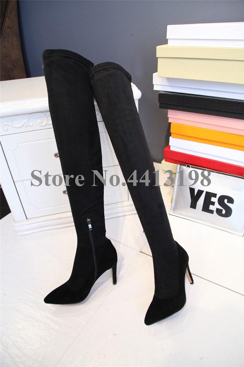 Européenne genou Pour Over Talons Noir the Pointu Date Chaussures Haute Zip Picture En Cuisse Mince Daim automne Printemps As Femmes Bout Bottes OuiTPwkXZ